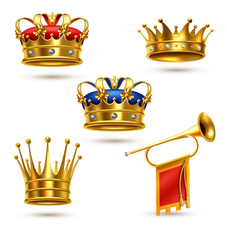 Royal ceremonial gold crowns collection and fanfare heralding trumpet. Realistic images set white background. Isolated vector illustration. Illustration