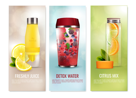 Detox drinks set of vertical banners with fresh juice, citrus mix on blurred background isolated vector illustration