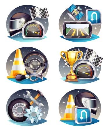 Compositions de course automobile sertie de navigateur satellite, drapeau, trophée, outils de service, casque, illustration vectorielle de cône de route Banque d'images - 93359818