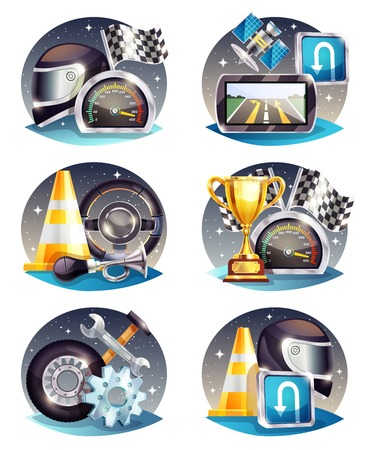 Auto racing compositions set with satellite navigator, flag, trophy, service tools, helmet, road cone isolated vector illustration