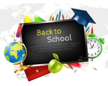 School graduation concept with learning and science symbols cartoon vector illustration Stock Illustratie