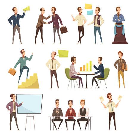 企画・作業シンボルを使用したビジネスミーティングアイコンが設定されたアニメ孤立ベクトルイラスト