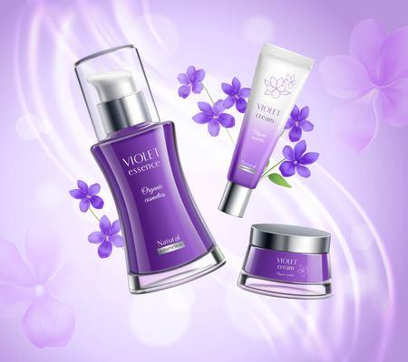 Biologische cosmetica huidverzorging producten realistische samenstelling poster met viooltjes extract essentie creme dispenser kleurrijke achtergrond vectorillustratie