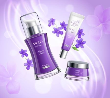 Organic cosmetics skincare products realistic  composition poster with violets extract essence creme dispenser colorful background vector illustration Çizim