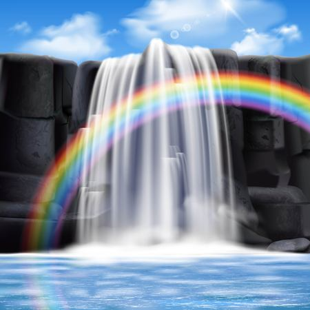Colored waterfalls realistic composition with big colored rainbow and water flows from the mountains vector illustration Illustration