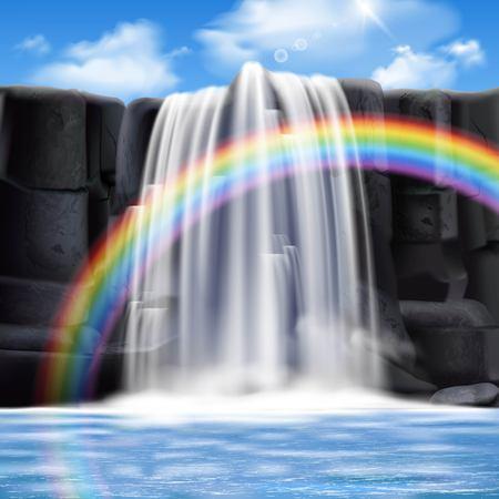colored cascades composition réaliste avec big couleur arc-en-ciel et l & # 39 ; eau coule des montagnes illustration vectorielle Vecteurs