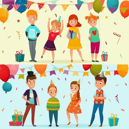 Two horizontal colored kids party banner set with two types of birthday party vector illustration