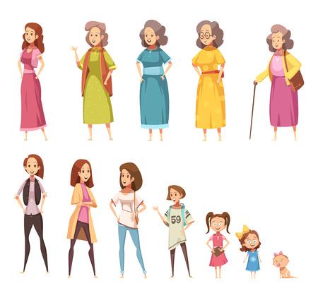 Vrouwen generatie platte gekleurde pictogrammen set van alle leeftijdscategorieën van kinderschoenen tot volwassenheid geïsoleerde cartoon vectorillustratie Stockfoto - 93370075