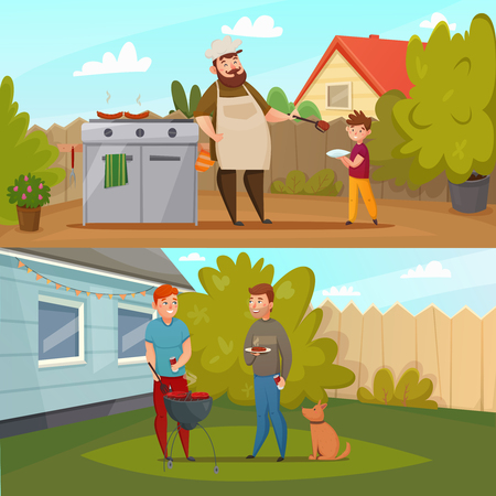 Two horizontal cartoon barbecue party banner set with people on the lawn bred BBQ vector illustration