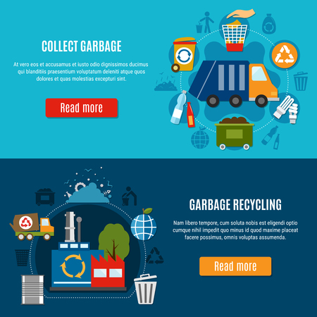 Garbage horizontal banners collection with compositions of flat waste disposal icons and pictograms with read more button vector illustration