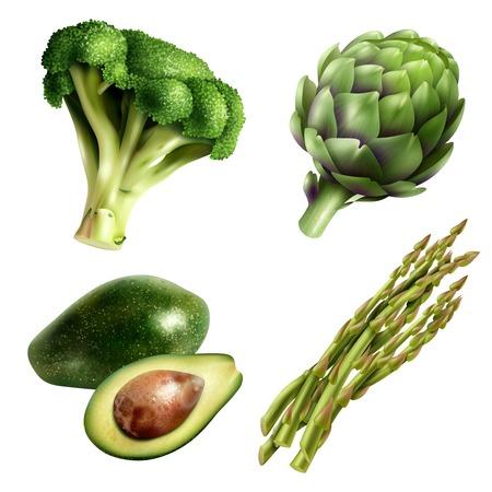 De reeks van vier soorten groenten in realistische stijl met de artisjok van avocadobrococcoli en asperge isoleerde vectorillustratie