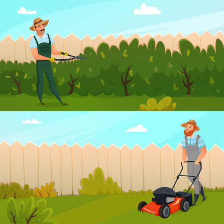 Two horizontal colored cartoon gardening work banner set with two working gardeners vector illustration