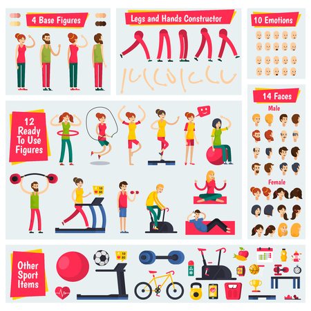 Colored and isolated fitness training people orthogonal character constructor icon set with different shapes of legs emotions figures and sport items vector illustration
