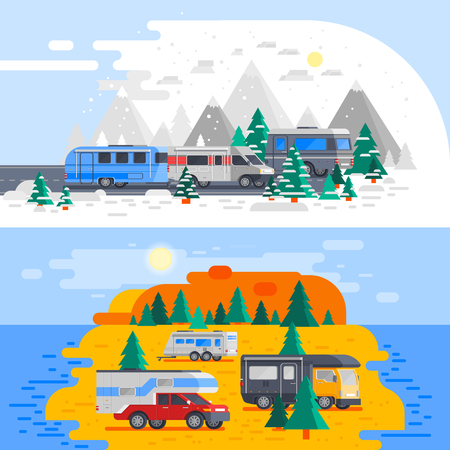 Two horizontal colored recreational vehicles composition set with winter and summer camping vector illustration