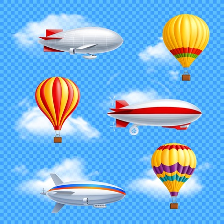 Realistic colored airship icon set air balloons and dirigible on transparent background vector illustration Illustration