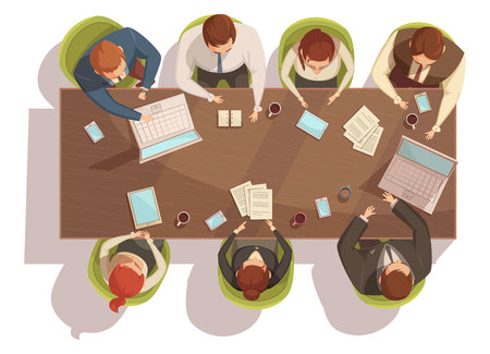 Business meeting top view concept with laptop and coffee cartoon vector illustration