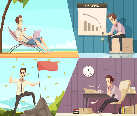Business success and failure concept 2 retro cartoon banners with money rain and frustration isolated vector illustration