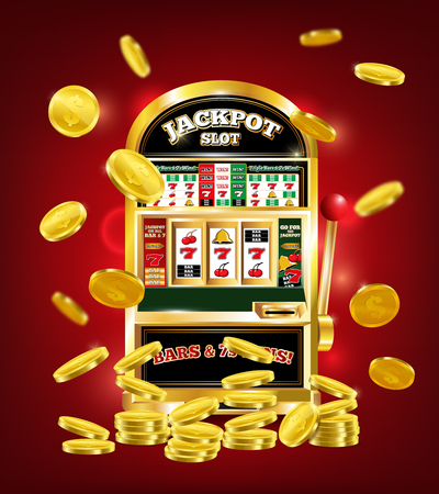 Slot machine poster with jackpot on game line, gold dollar coins on red background 3d vector illustration