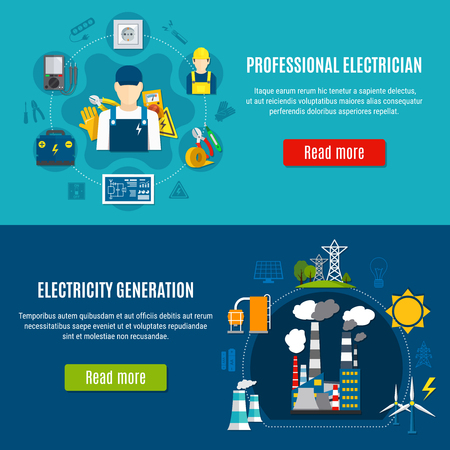 Horizontal flat banners with electrician with professional equipment and electricity generation on blue background isolated vector illustration