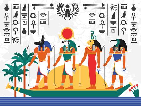 Manifesto variopinto piano dell'Egitto con gli dei egiziani antichi in barca del papiro sull'illustrazione piana di vettore del fondo del geroglifico Archivio Fotografico - 93359791