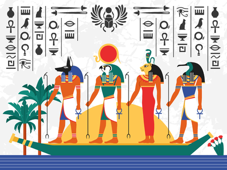 Egypt flat colorful poster with ancient egyptian gods in papyrus boat on hieroglyph background flat vector illustration Vettoriali