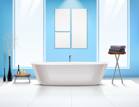 Colored bathroom interior composition in realistic style with white bathtub and windows opposite vector illustration