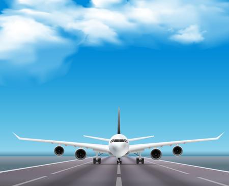 ●滑走路上の民間旅客機ジェットリアルな正面図画像 旅行代理店広告ポスター 空背景ベクトルイラスト