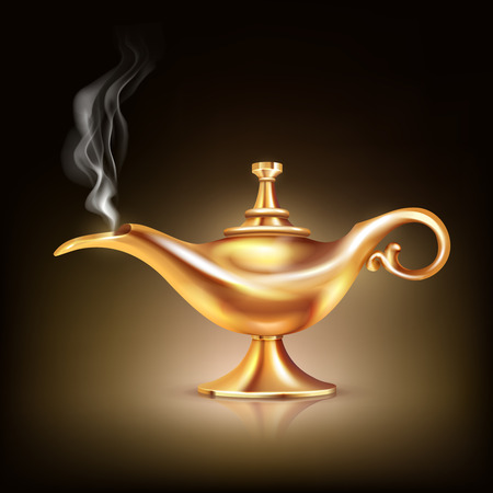 Aladdin lamp smoke composition with realistic cumbersome image of golden vessel with light reflections and smoke cloud vector illustration