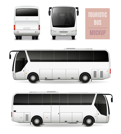 White touristic bus with tinted glass realistic advertising template side view front and rear isolated vector illustration Illustration