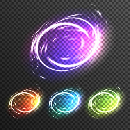 Light effects sparkles transparent composition in round shapes and in different colors vector illustration Illustration