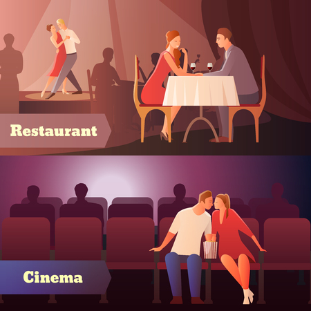 Romantic dinner dating couples flat compositions with loving couple having a date in cinema and restaurant vector illustration Stok Fotoğraf - 93359726