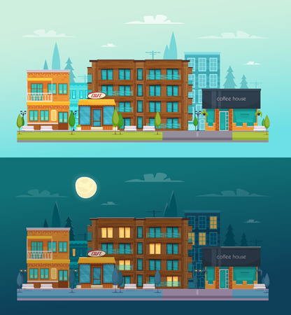 Street cafe day night 2 flat horizontal banners set with cafe restaurant bar composition isolated vector illustration