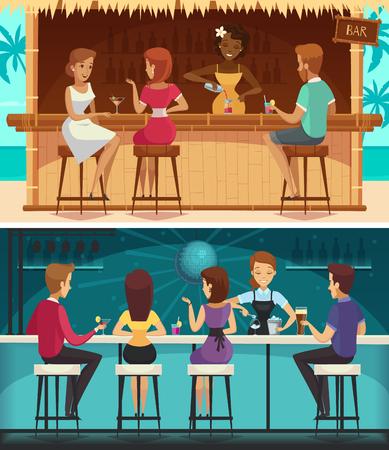 Bar de plage et de la publicité bar de la tablette boutons horizontales avec le personnel de la viande et des femmes au bar bar illustration vectorielle Banque d'images - 93348237