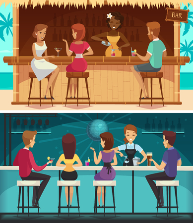 Beach bar and evening bar cartoon horizontal banners with female staff and people at bar counter flat vector illustration