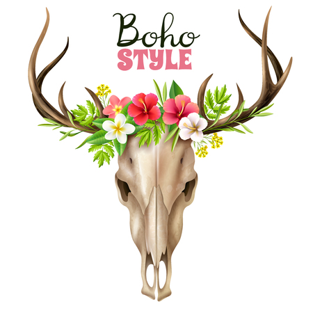 Deer skull in boho style decorated with floral elements on wide background realistic vector illustration