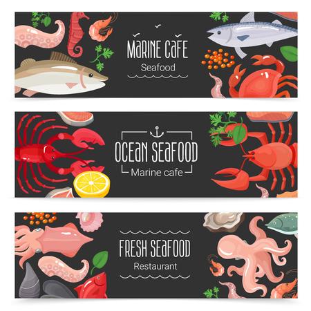 Verse oceaanzeevruchten mariene koffie 3 de horizontale inzameling van bordbanners met kleurrijke menupunten isoleerde vectorillustratie