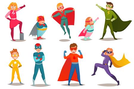 Retro set jongens superhelden jongens en meisjes in kleurrijke kostuums, in verschillende poses geïsoleerd vectorillustratie
