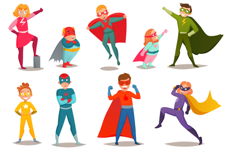 Retro set of kids superheroes boys and girls in colorful costumes, in various poses isolated vector illustration Stock Vector - 93348241