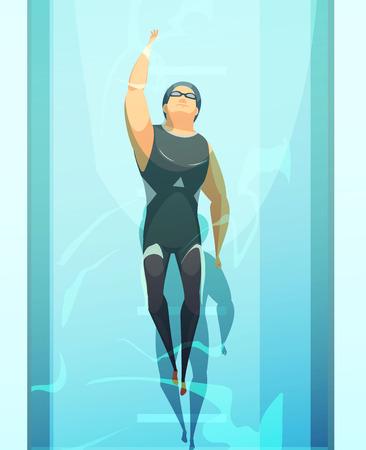 スイミングプールレーンベクトルイラストで制服姿のスポーツマンレトロ漫画スイマー