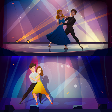 Dancing pair onstage in 2 retro cartoon banners