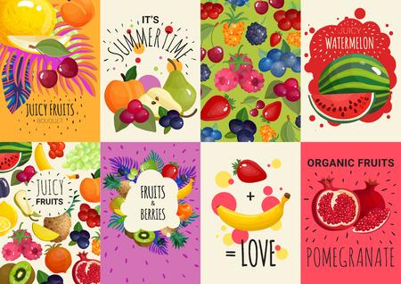 8カラフルな広告バナーベクトルイラストで新鮮なジューシーな果物やベリー  イラスト・ベクター素材