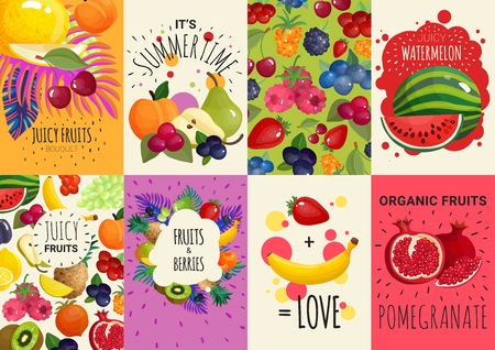 Fresh juicy fruits and berries in 8 colorful advertisement banners vector illustration