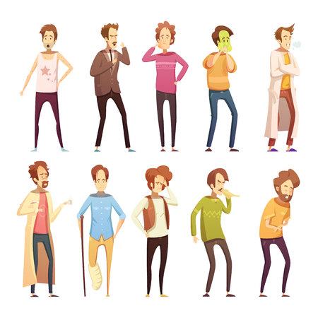 Colored sickness man retro cartoon icon set with different styles and ages people vector illustration Illustration