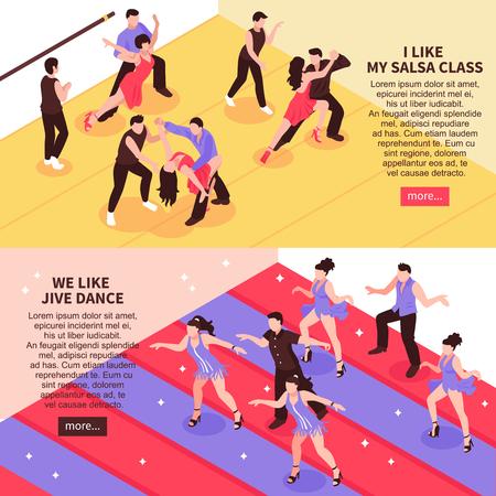 サルサトレーニング中にボールルームの人々と水平アイソメバナーを踊り、jiveクラスの孤立したベクトルイラスト。