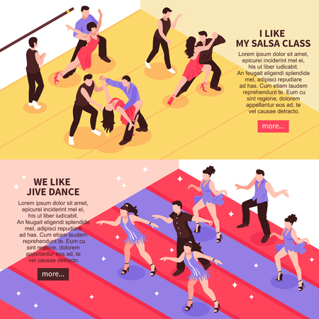 Dance horizontal isometric banners with people in ballroom during salsa training, jive class isolated vector illustration. 일러스트