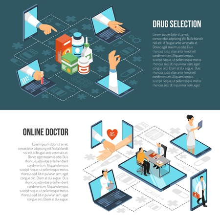 Online doctor virtual visit from mobile device for drugs selection, two horizontal isometric banners set vector illustration.