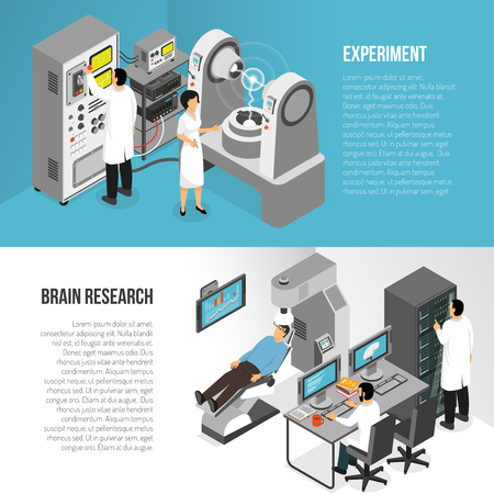 Isometric scientific laboratory horizontal banners set with text and compositions of scientist characters and medical equipment vector illustration. Foto de archivo - 93546977