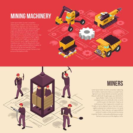 석탄 광산 산업 노동자 장비 및 기계 장치 isometric 가로 배너 격리 된 벡터 일러스트와 함께 설정 흐름 요소 일러스트