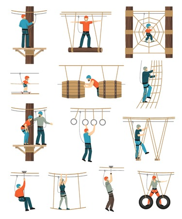Rope walk activity park set with flat isolated figures of people walking through ropewalk coarse obstructions vector illustration