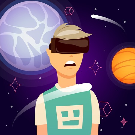 Man during outer space exploration in virtual reality orthogonal composition with planets on dark background vector illustration Illustration